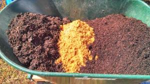 Compost, sand, potting soil