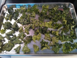Kale chips ready for the oven