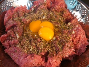 Ground beef with eggs, garlic & spices