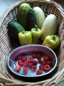 Green & pickling & white cucumbers, pepperoncini, and raspberries harvest