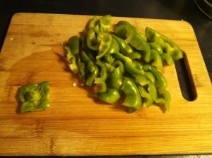 Pepper tops cut up