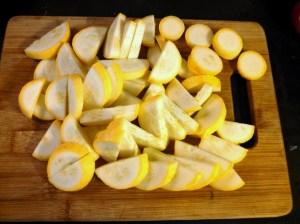 Sliced yellow squash for Italian squash