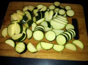 Sliced zucchini for Italian squash