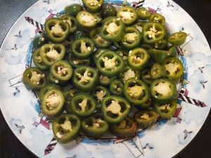 Jalapenos sliced for frying