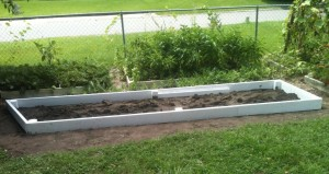 Long raised bed installed first