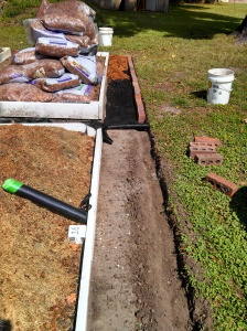 Raised bed trim in process
