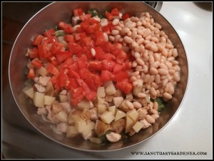 Potatoes, beans, & tomatoes added
