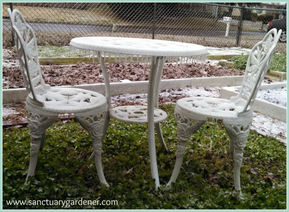 Winter Storm Leon ~ snowy table set dripping with icicles