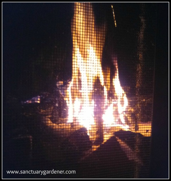 Reverse Fire Building ~ the kindling started burning into the large logs