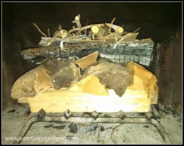 Reverse Fire Building: Kindling on top of large logs