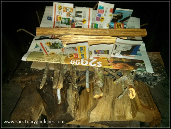 Reverse Fire Building ~ newspaper & fat wood on top