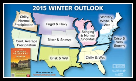 2015 Farmers' Almanac winter forecast map