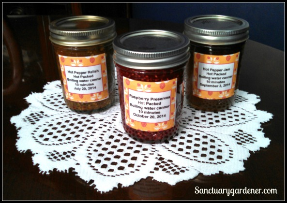 Hot pepper relish, raspberry preserves, & hot pepper jam ~ ready for the fair competition