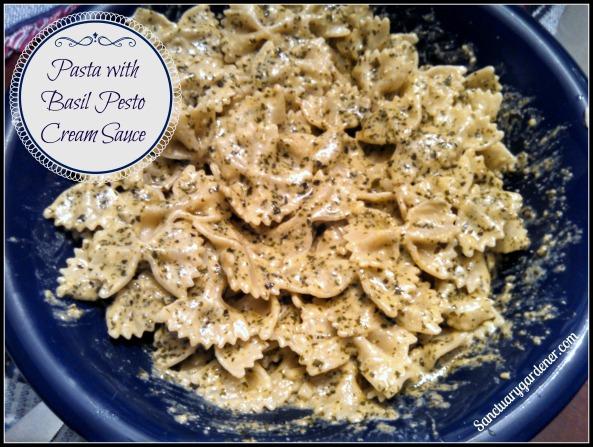 Pasta with basil pesto cream sauce pic