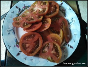 Sliced Black Krim tomatoes
