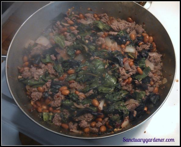 Turkey sausage, pinto beans, & beet greens