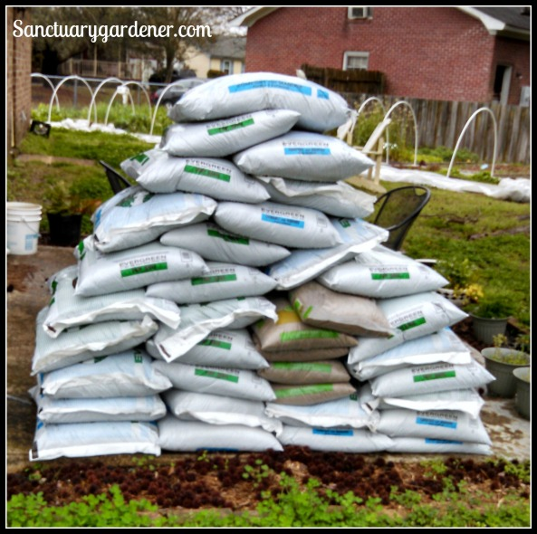 Top soil, manure compost, and sand for the Shade & L Gardens