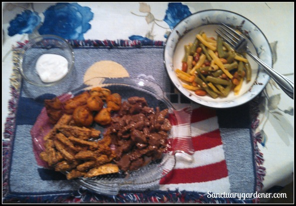 Garden supper of fried jalapenos & pepperoncini, eggplant fries, beef, and Italian bean salad