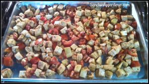 Herb Roasted Eggplant & Tomatoes - going in oven SG
