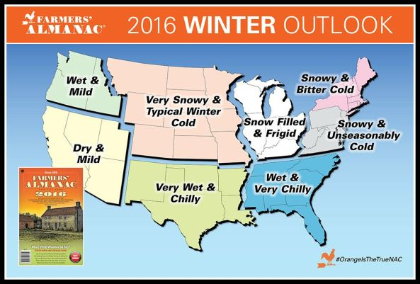 2016 Farmer's Almanac Winter Forecast Map