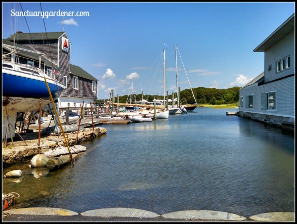 Boatyard marina in Wickford, RI (the yacht club is the building on the right)