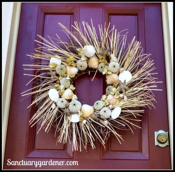 Seashell and straw wreath in Wickford, RI