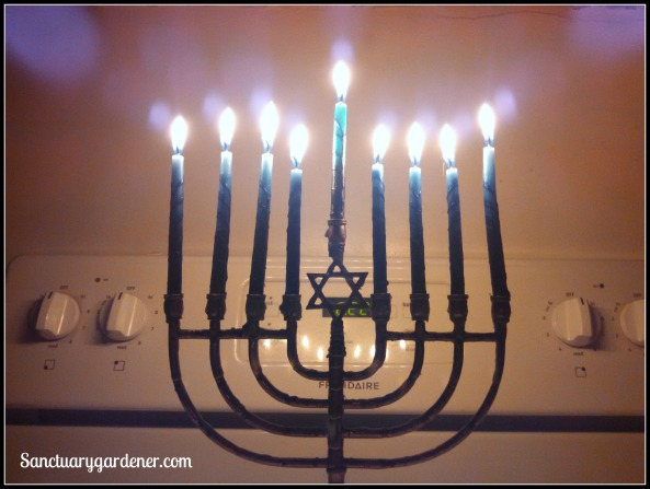 My Hanukkiah on the 8th night