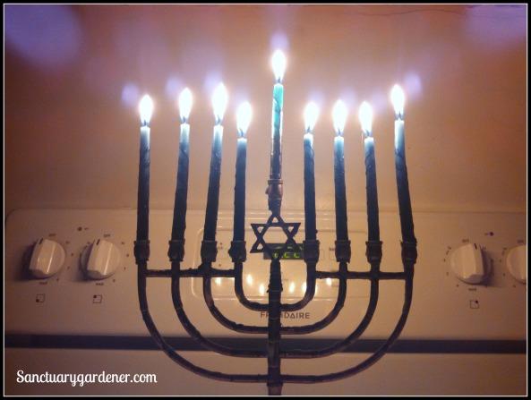 My Hanukkiah on the 8th night